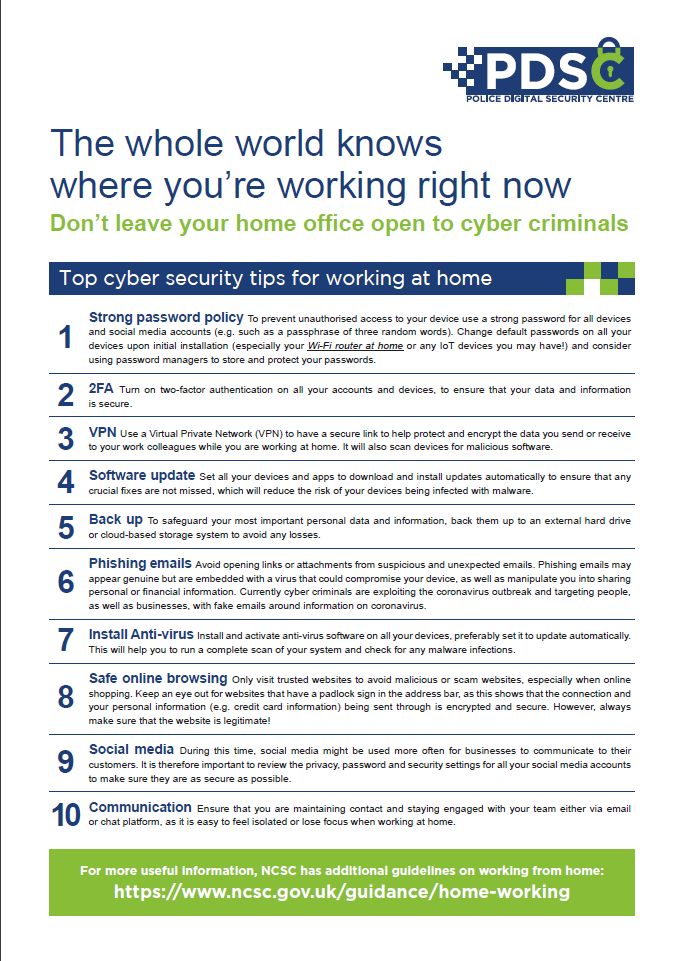 Top Tips for Working From Home – Cyber Security